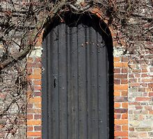 Ancient wooden door in Bruges by kirilart