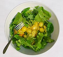 Yellow Tomato Salad With Fork by jojobob