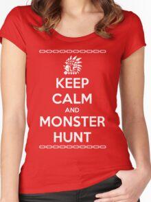 Keep Calm and Monster Hunt (White Text) Women's Fitted Scoop T-Shirt
