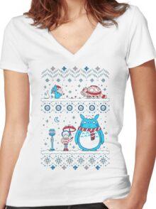 Pokemon Totoro Neighbor Women's Fitted V-Neck T-Shirt