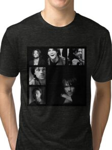 Jared Padalecki in Black and White Tri-blend T-Shirt