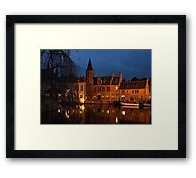 Bruges Rozenhoedkaai Night Scene Framed Print
