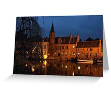 Bruges Rozenhoedkaai Night Scene Greeting Card