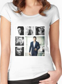 Jensen Ackles in (somewhat) Black and White Women's Fitted Scoop T-Shirt