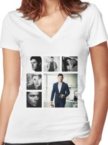 Jensen Ackles in (somewhat) Black and White Women's Fitted V-Neck T-Shirt