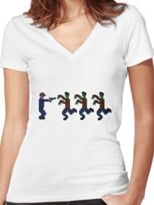 Zombie 16-Bit High Women's Fitted V-Neck T-Shirt
