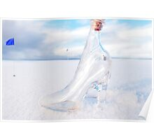 glass slipper on snow covered golf course Poster
