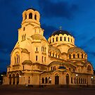 Nightshot of Cathedral Alexandar Nevsky in Sofia by kirilart