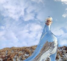 glass slipper on snow covered surface by morrbyte