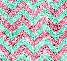 Chevron Pattern, pink & teal glitter photo print  by GirlyTrend