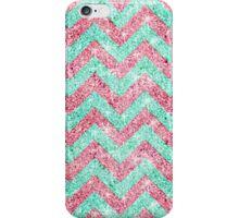 Chevron Pattern, pink & teal glitter photo print  iPhone Case/Skin