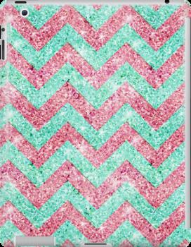 Chevron Pattern, pink & teal glitter photo print  by GirlyTrend