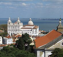 Lisbon Panoramic view toward The Vasco da Gama Bridge by kirilart