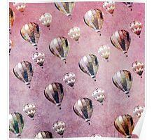 Vintage Hot Air Balloons Retro Floral Damask Poster