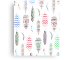 Feathers Pink Tribal Aztec Teal Chevron Pattern Canvas Print