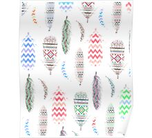 Feathers Pink Tribal Aztec Teal Chevron Pattern Poster