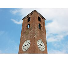 Antique Clock Tower on Blue Sky Background Photographic Print