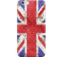 Vintage Red Polka Dots Floral UK Union Jack Flag iPhone Case/Skin