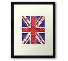Vintage Red Polka Dots Floral UK Union Jack Flag Framed Print