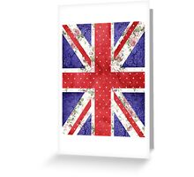 Vintage Red Polka Dots Floral UK Union Jack Flag Greeting Card