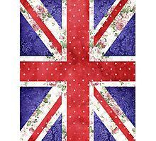 Vintage Red Polka Dots Floral UK Union Jack Flag Photographic Print