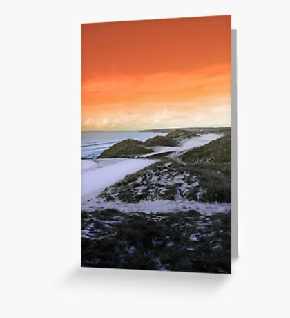 golf fairway with winter orange sunset sky Greeting Card