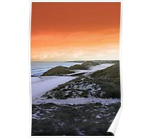golf fairway with winter orange sunset sky Poster