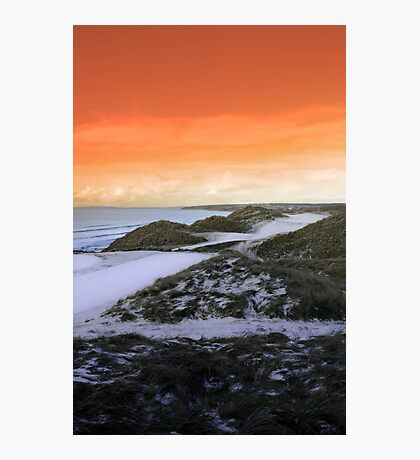 golf fairway with winter orange sunset sky Photographic Print