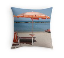 Red Beach Umbrella With Lifeboat Throw Pillow