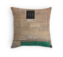 Green Bench Against Stone Wall Throw Pillow