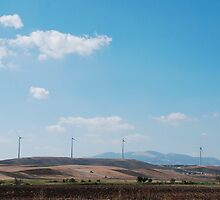 Row of Wind Turbines in South Italy by jojobob