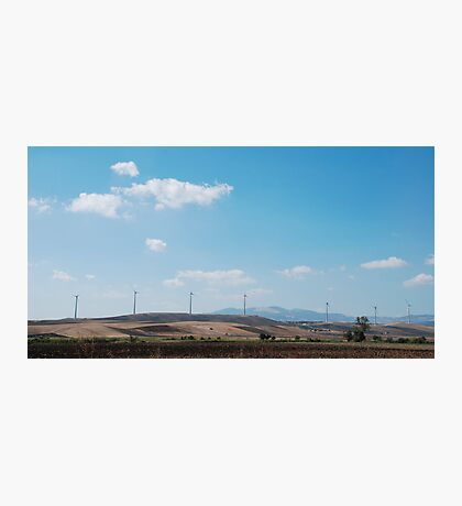 Row of Wind Turbines in South Italy Photographic Print