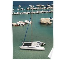 Catamaran with Background Boats Poster