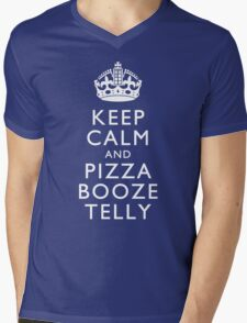 Keep Calm and Pizza Booze Telly Mens V-Neck T-Shirt