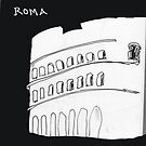 Roma Colosseum drawn with tired feet on a rainy night by James Lewis Hamilton