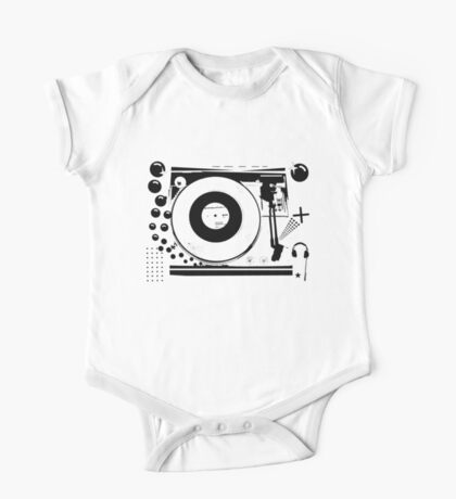 Vinyl Record Turntable Stencil One Piece - Short Sleeve