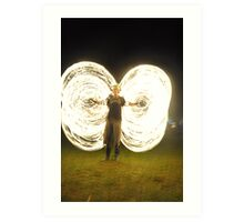 fire poi, fire ropes, fire festivals, festivals, volksfest. cool3water@ gums, andrew waters.  heat , dance, poi, rope poi,  Art Print