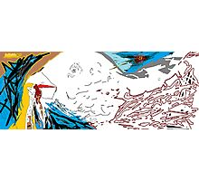Early bird catches the worm -(300313)- Digital art/mouse drawn/MS Paint Photographic Print