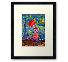 A Monet Woman on a Van Gogh Starry Night Framed Print