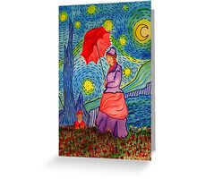 A Monet Woman on a Van Gogh Starry Night Greeting Card
