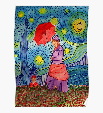 A Monet Woman on a Van Gogh Starry Night Poster
