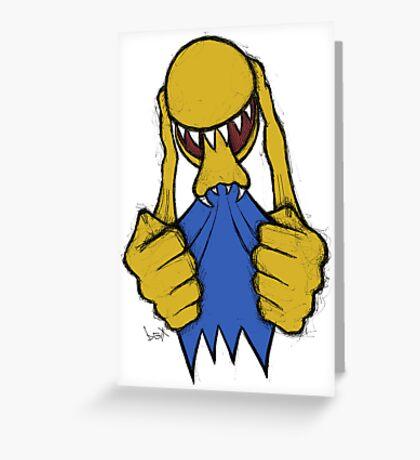 Alien Pac Man Greeting Card
