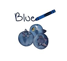 Blue Crayon with Three Blueberries Photographic Print