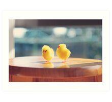 Toy Chickens - Wood Floor Art Print
