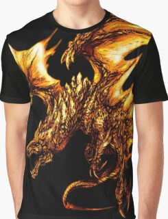 Fiery Molten Burning Dragon Design Graphic T-Shirt