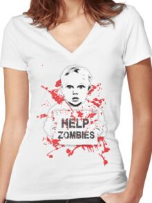 HELP ZOMBIES Women's Fitted V-Neck T-Shirt
