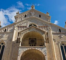 Verona Cathedral facade close up shot over blue sky by kirilart