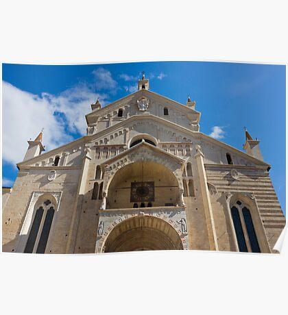 Verona Cathedral facade close up shot over blue sky Poster