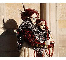 Couple in Red and Cream at Venice Carnival Photographic Print