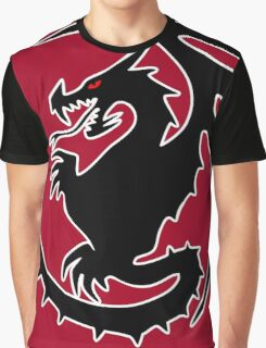 Round Black Dragon Design On Red Background Graphic T-Shirt